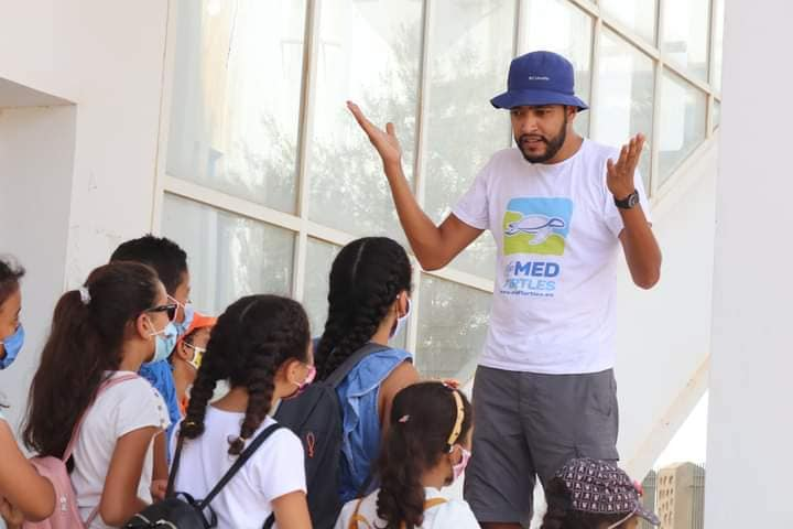 School lecture at the sea turtles first aid  centre in Sfax